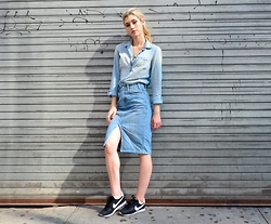 Dani Mikaela McGowan - J. Crew Chambray Top, Levi's® Denim Skirt, Nike Gym Shoes - Denim on Denim