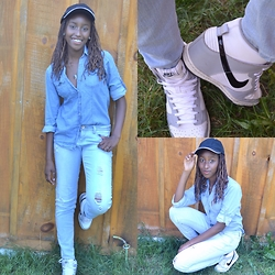 Viona Wambui - H&M Shirt, Nike Sneakers, Forever 21 Necklace - Denim on denim