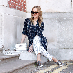 Mad Cat Fashion P. - Zara Checked Shirt, Primark Checked Trousers, Primark Silver Sneakers, Primark Bag - MyLook #43