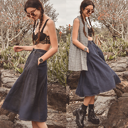 Elle-May Leckenby - Lace Crop, Check Button Down High Neck Dress, Denim Midi Skirt With Pockets, Gold Framed Sunglasses - Dried garden walks