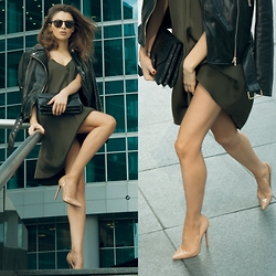 Alexandra M - Mango Dress, Massimo Dutti Leather Coat, Massimo Dutti Bag, Massimo Dutti Sunglasses, Christian Louboutin Heels - Last working days