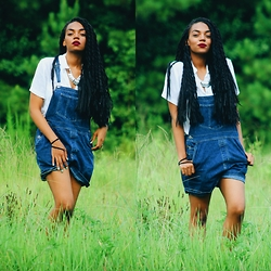 K. C - Vintage Overalls, Thrifted Blouse, H&M Silver Necklace - I'm only good at being young