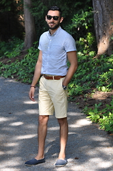 Hector Diaz - Topman White Patterned Button Down (Similar), J. Crew Light Yellow Bermuda Shorts (Similar), J. Crew Leather Belt, Toms Shoes, Burberry Shades - A Ten out of Ten