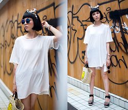 Samantha Mariko - Blondy T Shirt, Punyus Headband, Zero Uv Sunglasses, Le Talon Bag, Zara Sandals - Summer lovin' in harajuku