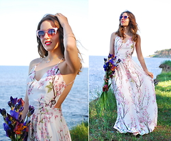 Iren P. - Rose Pink Cat Eye Sunglasses, Sheinside Sakura Printed Strap Maxi Dress, Nude Platform Heel Sandals, Clover Pendant - SAKURA