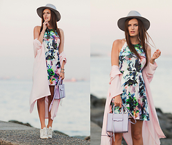 Viktoriya Sener - Chace The Label Dress, Young Hungry Free Duster Coat, Mango Trainers, Asos Hat, Rebecca Minkoff Bag - PASTEL SUNSET
