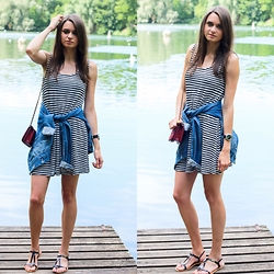 Audrey - Forever 21 Dress, Vero Moda Jacket, Tropeziennes Sandals, Forever 21 Bag, Marc By Jacobs Watch - Stripes look