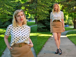 Elizabeth Claire - H&M White And Black Polka Dot Top, H&M Camel Skirt, Matty's Buckle Boots - Berry Lips
