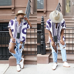 Askia Abdull - Topman Cardholder Necklace, Puma Sneakers, Forever 21 Hat - Shapes Patterns & denim