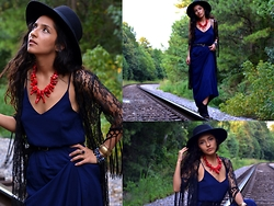 Lilia U.M - H&M Wide Brim Hat, Diy Red Coral Necklace, Dresslink Lace Kimono Cardigan, Copper And Brass Indian Cuff, Blue Maxi Dress, Champs Small Braided Belt - Favorite places. Favorite things.