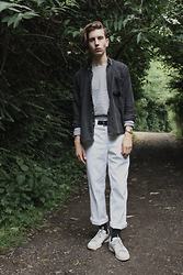STYLE Solace - Vintage Cord Shirt, Selected Homme Striped Long Sleeve Tee, Dickies Work Pant, Calvin Klein Black Socks, Adidas Stan Smiths, Casio, The Great Frog Smallest Skull Ring - Summer Walks 1 | Light Layering