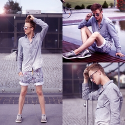 Adrian Kamiński - Stylepit Short, Sunglasses, Puma Shoes - Total grey look | modefriends