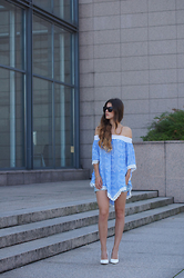 Tamy's Fashion World - Freyrs Sunglasses, Dressgal Shirt, Dobra Mačka Shoes - Blue&white