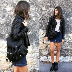 Alizée Gamberini - Topshop Perfecto, Forever 21 Backpack, Topshop Skirt, Chloé Booties - Black mind