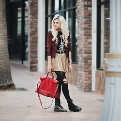 Mickylene Delgado - Ms. Little's Bag The Suede & Leather Tote Red - CARELESS