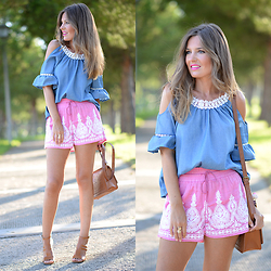 Helena Cueva - Fashion Pills Blouse, Oysho Shorts, Mango Sandals - Coco Offshoulder