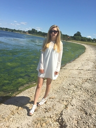 Isobel Thomas - Primark Sunnies, Oasap White Bell Sleeved Dress, Truffle White Sandals - White Angel
