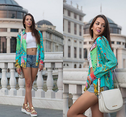 Blertina Shabani - Roberto Cavalli Printed Shirt, Michael Kors Cross Body Bag - Cavalli Love