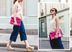 Miu PHAM - H&M Flared Shirt, H&M Denim Culottes Pants, Office Metallic Wedges, Miu Glitters Cat Eyes Sunglasses - Denim Culottes Pants
