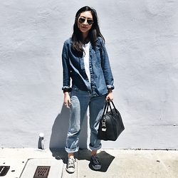 Tiffany Wang - Ray Ban Aviators, Madewell Shirt, Everlane Tee, Levi's® Jeans, Converse Sneakers, Givenchy Bag - DENIM ON DENIM