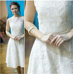 Lina CV - Silver And Pearl, Kz Designer Alma White Lace Dress - My graduation look