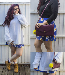 Olivia Lynn - H&M Oversize Polo Neck, Topshop Long Sleeve Crop, Charity Shop Blue Button Down Daisy Skirt, Charity Shop Mock Croc Cross Body, Timberland Classic Lace Up Tan, Dune Yellow Sunshine Pom Pom - Daisy Button Down