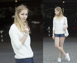 Anya Rise - Sheinside Sweater, Herschel Bag, Stradivarius Shorts - Lovely sweater from Sheinside