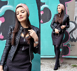 Lucine A - New Yorker Biker Jacket, Waggon Paris Black Dress, River Island Headband - Let's Rock