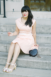 Carla Thompson - Voodoo Vixen Polka Dot Pink Dress, Swedish Hasbeen Pearl Sky High - Retro Cotton Candy