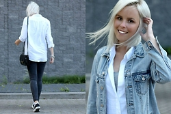 Merel - H&M Shirt, Bought In Florence Shoulder Bag, H&M Skinnies, Converse All Stars, Bershka Denim Jacket - DON'T LOOK DOWN