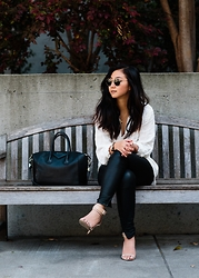 Tiffany Wang - Blank Denim Leather Pants, Zara Heels, Free People Shirt, Ray Ban Sunglasses, Givenchy Bag - TAKE ME TO CHURCH