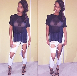 Tkeyah Grier - American Apparel Bralette, Forever 21 Mesh Shirt, Charlotte Russe Boyfriend Jeans, Target Sandals - Ripped Jeans