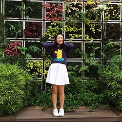 Beverly Tan - Forever 21 Pokemon Pullover, American Apparel White Denim Circle Skirt, Nike Air Force 1 - 5 year old & proud