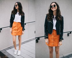 Bea G - Skirt, Blouse, Jacket, Shoes - Orange Love