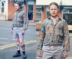 Joe Weightman - Charity Shop Viscose Patterned Shirt, Topman Grey Cotton Shorts, Underground Creepers - The Lump of Rock next to that Bit of Road