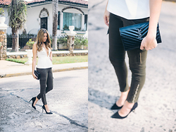 Maristella Gonzalez - Saint Laurent Quilted Leather Bag, J Brand Skinny Green Cargo Pants, Finders Keepers The Label Deep V Top, Enzo Angiolini Black Suede Pumps - Cargo Skinny Pants