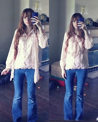 Holly Ann - Pastel Pink Glasses, Pink Ruffle Blouse, Matching Scarf, Bell Bottom Jeans - ≪70's Throwback≪