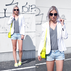 Nena F. - French Connection Uk Bag, Vans Shoes - Bright yellow