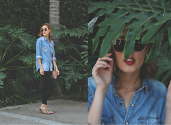 Hannah N - Ray Ban Sunnies, H&M Men's Denim Button Down, Gap Black Jeans, Zara Birks, Old Navy Bag - From The Boys