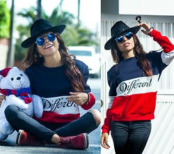 Rodrigez Jesmaa - Sunglasses, Sweater Pullover , Hoodie, Cap Fedora - I m different , definitley not like the rest