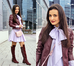 Lucine A - Desire Violet Dress, Vero Moda Marsala Biker Jacket, Desire Pink Shoulder Bag, Dune London Over Knee Boots - Violet Bow