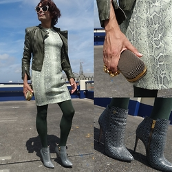 Francesca Di Parma - Prada Glasses, Cigno Nero Jacket, Globus Dress, Wolford Tights, Supertrash Booties, Alexander Mcqueen Clutch - SuperTrash!