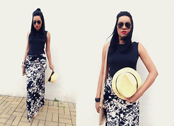 Ka Martins - Floral Long Skirt, Black Top, Panama Hat, Nude Purse, Mac Cosmetics Russian Red Lipstick, Sunnies, Half Bun - Chic Minimal