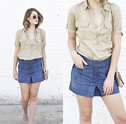 Laura P - Buttoned Top, Citizens Of Humanity Denim Mini Skirt - Khaki