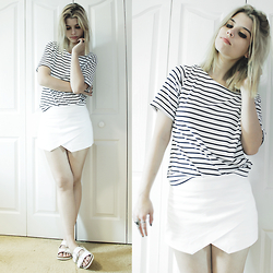 Lidia Zuin - Newdress White Striped T Shirt, Zara White Asymmetrical Shorts, Zara White Flats - A touch of stripes