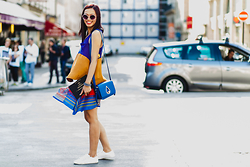 Thythu NGUYEN - Kenzo Drop Bag, Stradivarius Zipped Tenis, Urban Outfitters Scarf Skirt - Colorful smileys @ Haute Couture Fashion Week