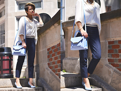 Julie Đặng - Zara Pleated Back Panel Blouse, Loft Petite Linear Eyelet Riviera Pants, Ted Baker Mariza Patent Crosshatch Lady Bag, Lifestride Parigi Pebble Pump - Sunny Side Aside