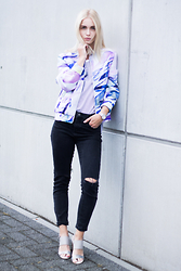 Anita VDH - Sacha Silver Heels, Subdued Black Ripped Jeans, Zara Striped T Shirt, Ivyrevel Printed Scuba Jacket - Printed Together