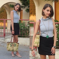 Nina Plavnik - Dresslink Diy Turtleneck Top, Pimkie Pencil Skirt, Zara Beige Loafers, Isabella Fiore Tropical Beaded Bag, Claire's Gold Hoop Earrings, Zara Turquoise Pendant Necklace - An Office Ensemble