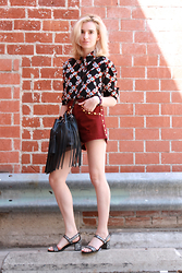 Liz Benichou - Sandro Floral Shirt, Sandro High Waisted Maroon Shorts, Sandro Block Heel Sandals, Sandro Fringe Leather Bag - 70s Floral Shirt: Sandro Pre-Fall